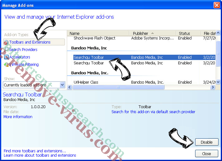 Screen Watch Browser Hijacker Virus IE toolbars and extensions