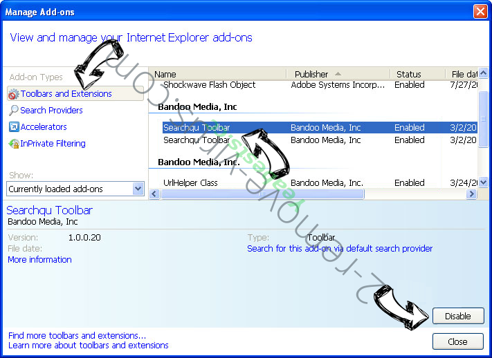 Search.hfasttrackerpackage.net IE toolbars and extensions
