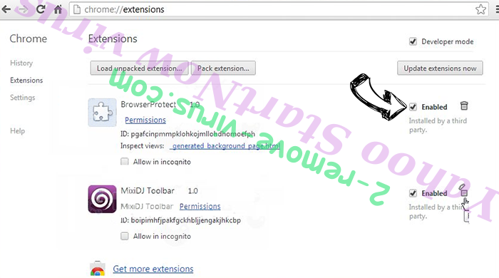 Yahoo StartNow virus Chrome extensions disable