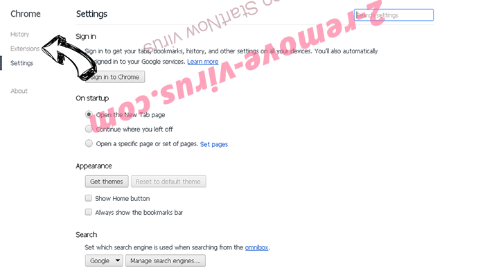 Yahoo StartNow virus Chrome settings