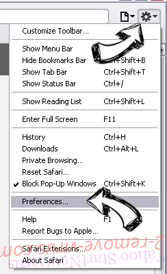 NoteHomepage Virus Safari menu