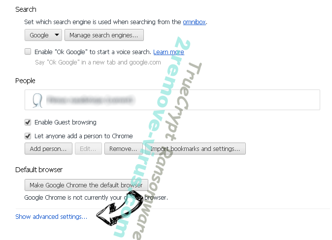 Search.searchflm.com Chrome settings more