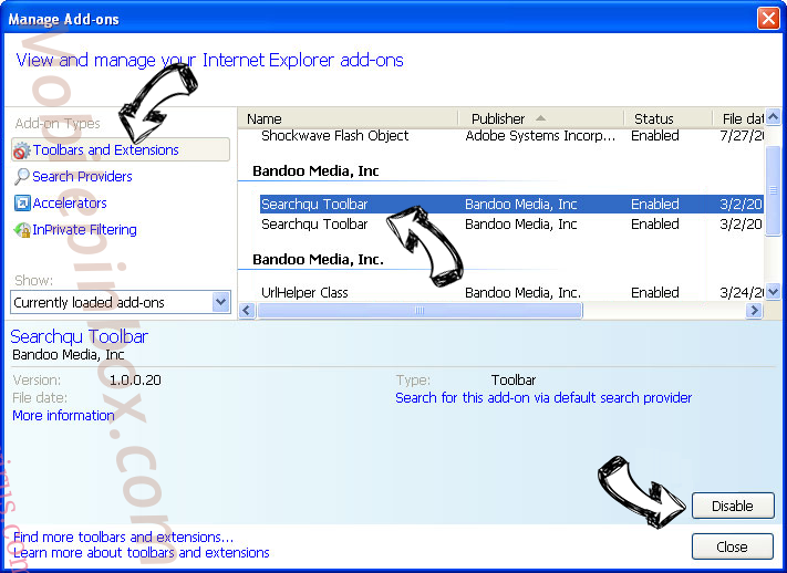 Searchvzcc.com IE toolbars and extensions
