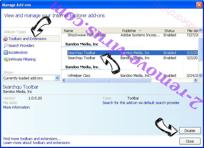 Rimuovere Locky File Virus IE toolbars and extensions