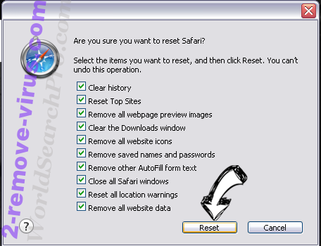 Удаление Zyklon Virus Safari reset