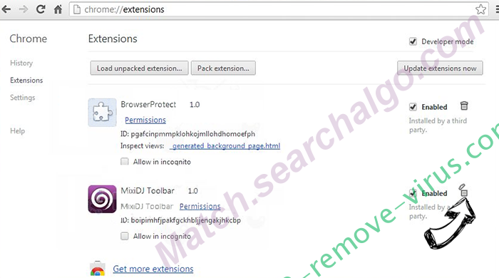 Int.search.mywebsearch.com Chrome extensions remove