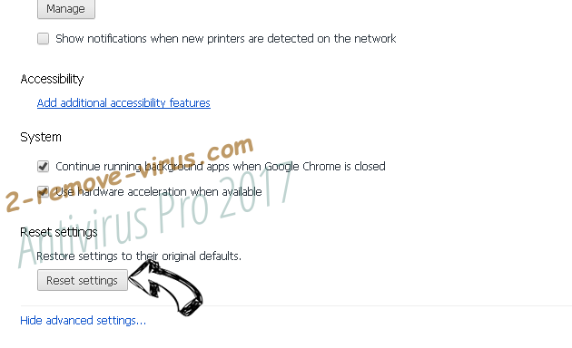 Antivirus Pro 2017 Chrome advanced menu