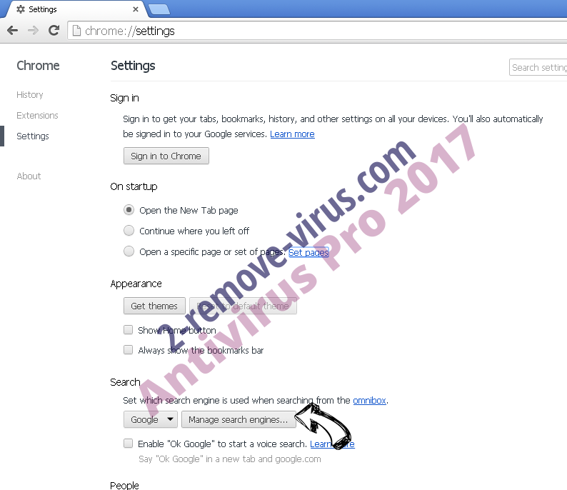 Websearch.search-mania.info Chrome extensions disable