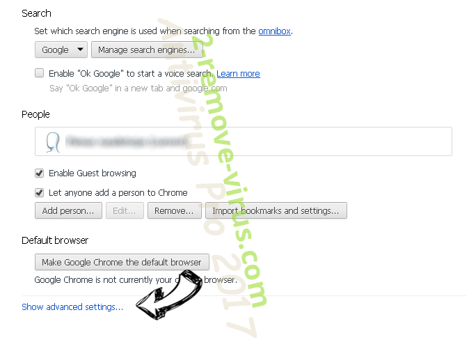 Websearch.search-mania.info Chrome settings more