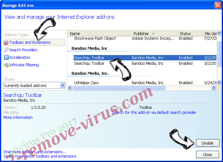 Antivirus Pro 2017 IE toolbars and extensions