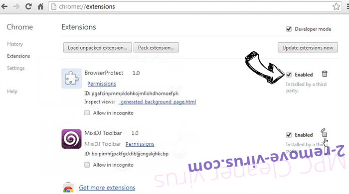 MPC Cleaner virus Chrome extensions disable