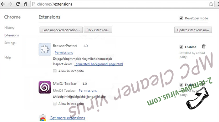 Удаление Protecthost.dll Chrome extensions remove