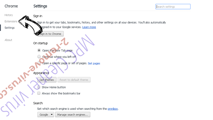 Untabs Virus Chrome settings