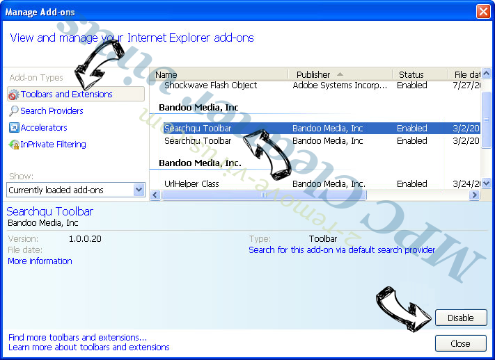 FlightSearchSpp IE toolbars and extensions