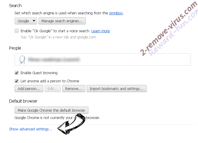 WebSearchInc.net Chrome settings more