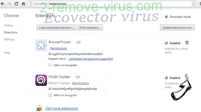 Ecovector virus Chrome extensions remove