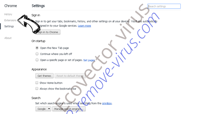Ecovector virus Chrome settings