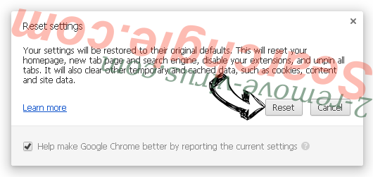 Удаление Ooo.versetugging.com Chrome reset