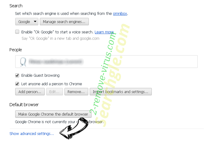 Searchgle.com Chrome settings more