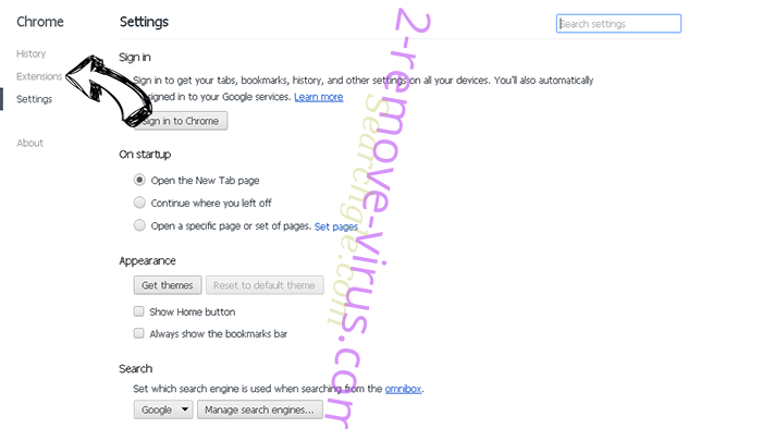 Supprimer SocialNewPage Chrome settings
