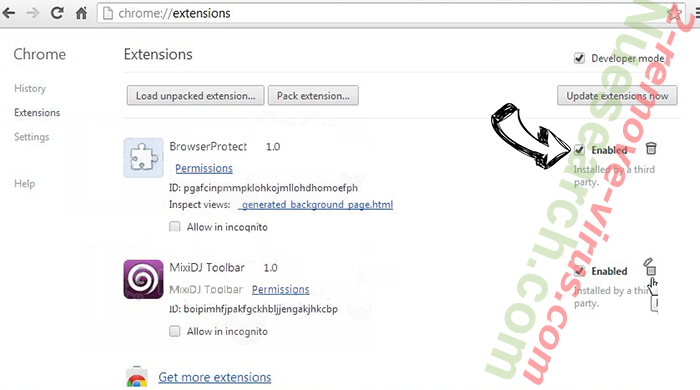 Search.fc-cmf.com entfernen Chrome extensions disable