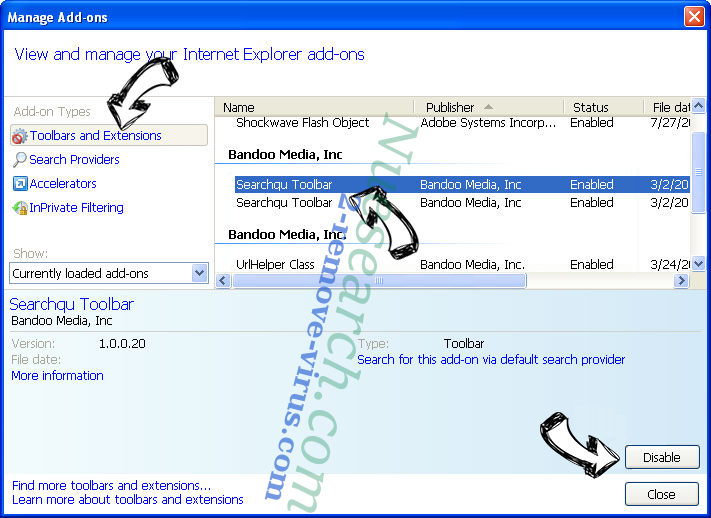 Search.fc-cmf.com IE toolbars and extensions
