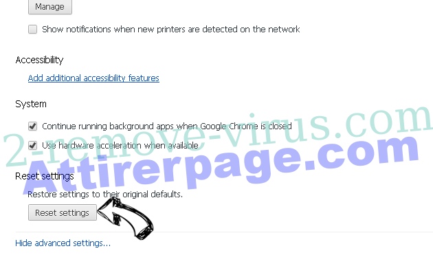Yoursearchweb.com Chrome advanced menu