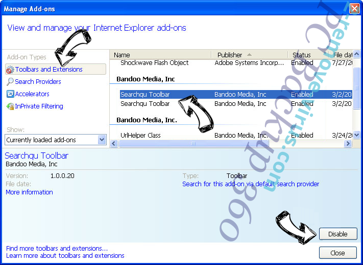 Search.searchtnl.com IE toolbars and extensions
