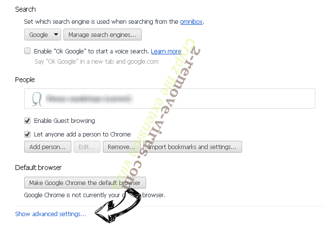 Yoursearch.me Chrome settings more