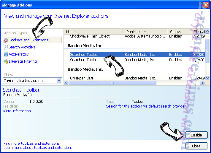 Yoursearch.me IE toolbars and extensions