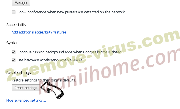 Secure Search Virus Chrome advanced menu
