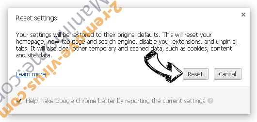 Secure Search Virus Chrome reset