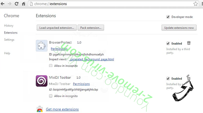Trotux.com Search Virus Chrome extensions remove