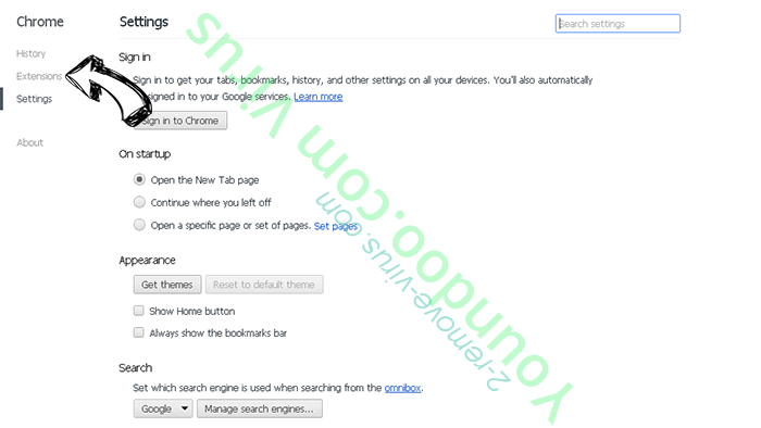 Youndoo.com Virus Chrome settings