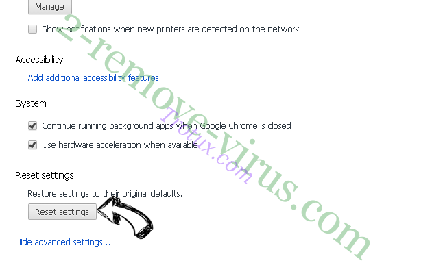 Goverial Search redirect Chrome advanced menu