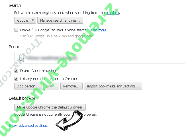 Goverial Search redirect Chrome settings more