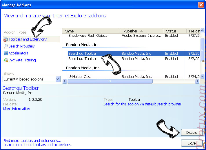 Goverial Search redirect IE toolbars and extensions