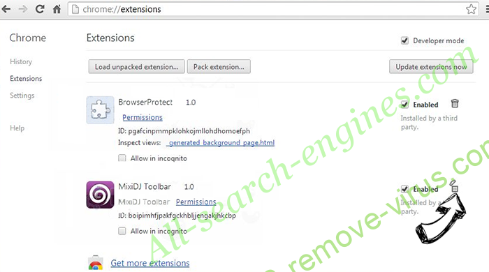All-search-engines.com Chrome extensions remove