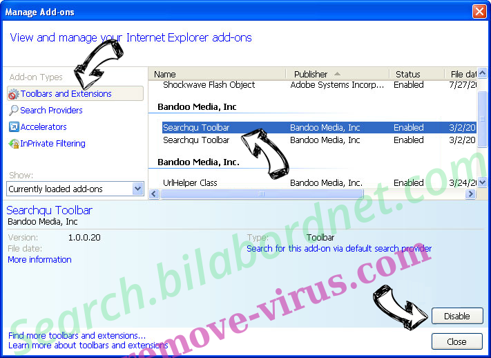 Search.searchreveal.com IE toolbars and extensions