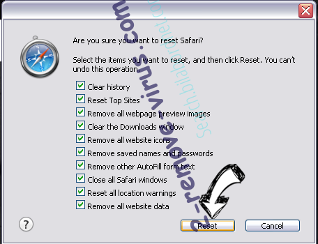 Search.yourrecipescenter.com Safari reset