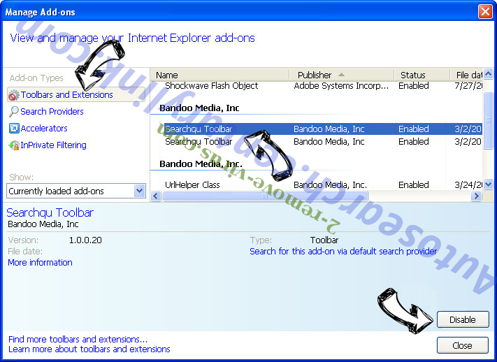 Searchtab.win virus IE toolbars and extensions