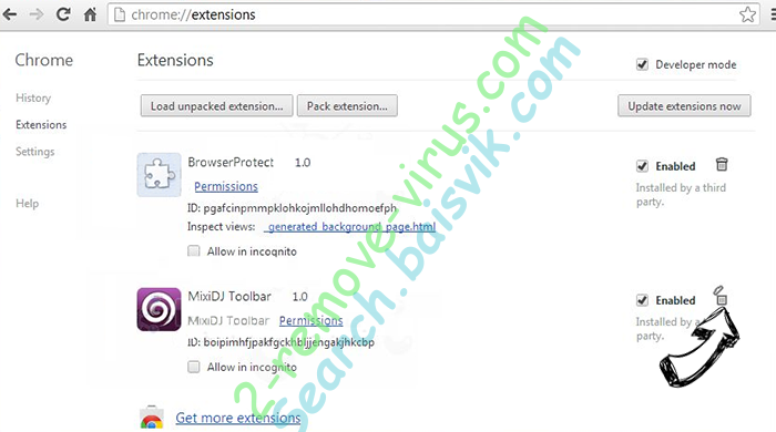 Search.baisvik.com Chrome extensions remove