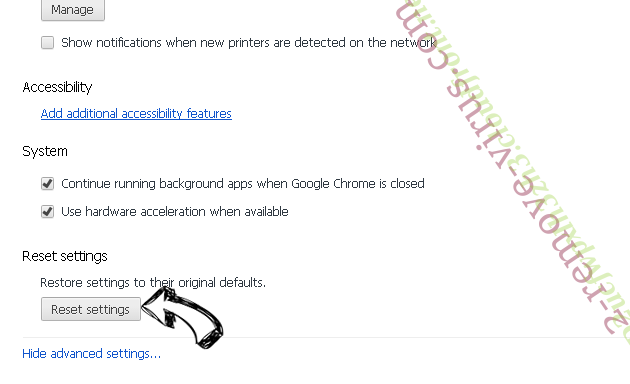 Googlesaerch.ru Chrome advanced menu