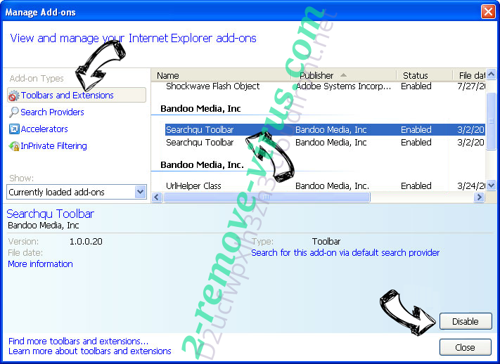 Search.searchlsp.com IE toolbars and extensions