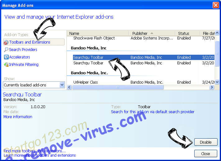 Negozl Virus IE toolbars and extensions