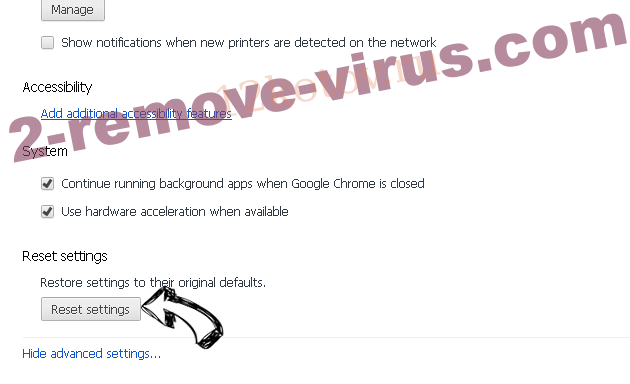 Searchengaged.com - come rimuovere? Chrome advanced menu