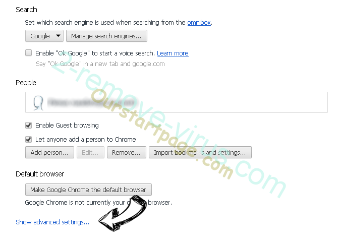 Huntquery.com Chrome settings more