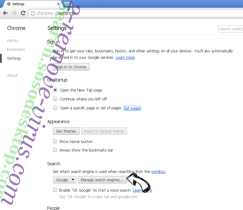 100searchengines.com entfernen Chrome extensions disable