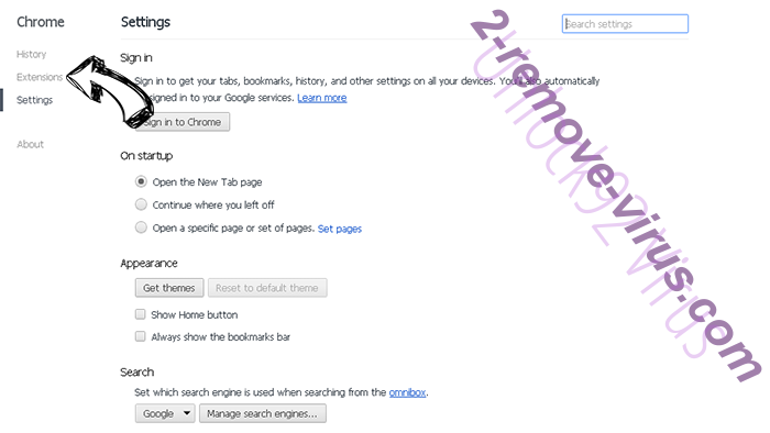 Unlock92 Virus Chrome settings