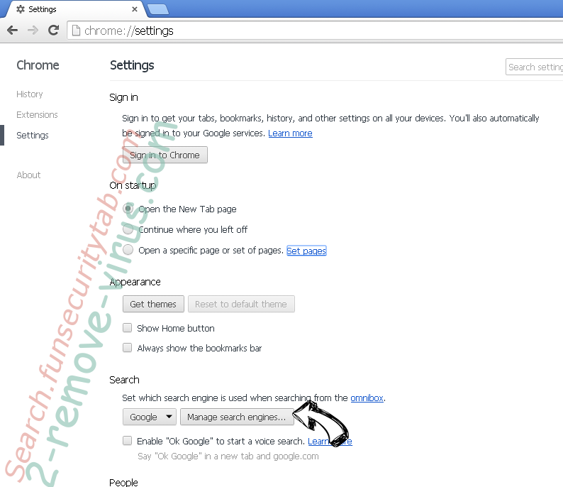Search.funsecuritytab.com - comment faire pour supprimer? Chrome extensions disable